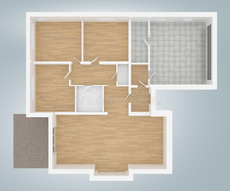 Model of empty home apartment vector illustration