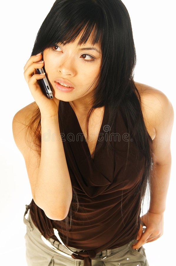 Download Model Expressions With Cell Stock Photo - Image: 695748