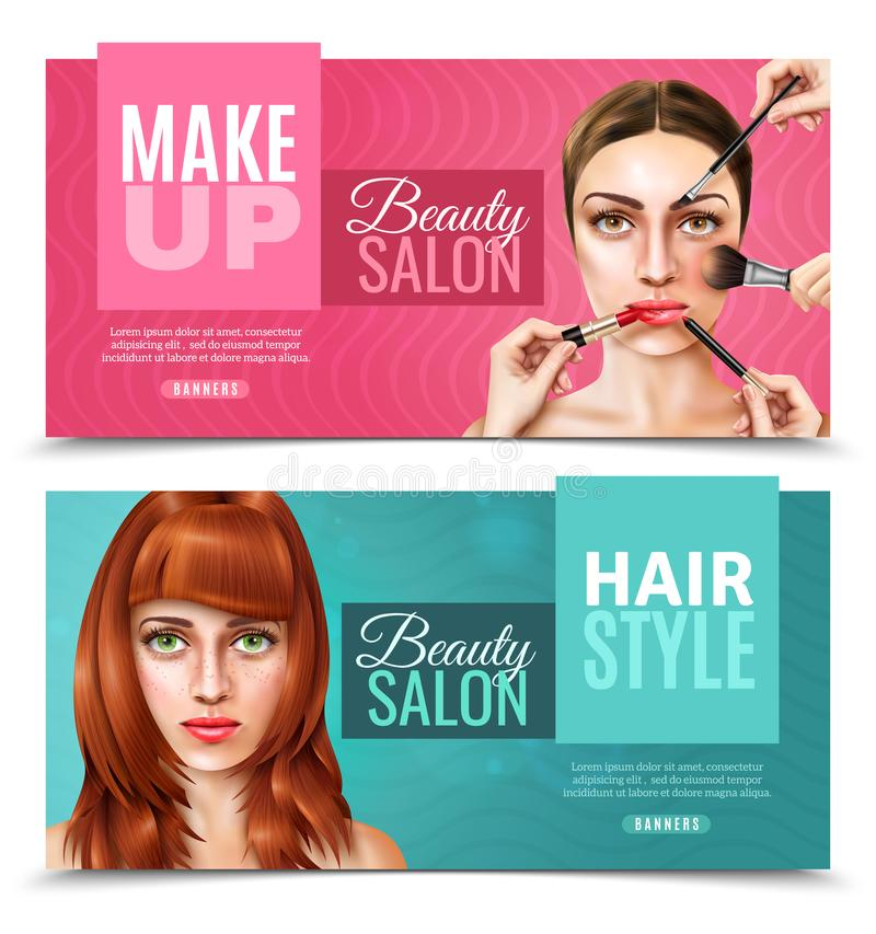 Model Face Salon Banners. Horizontal beauty salon banners in pink and blue color with pretty female model faces realistic vector illustration stock illustration