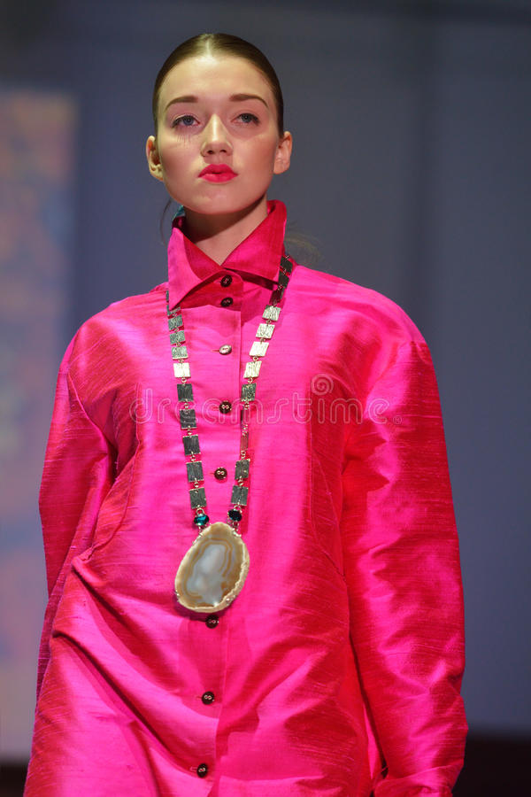 Model on the fashion parade royalty free stock photography