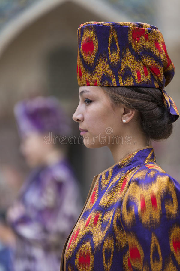 Model in a fashion show in Bukhara. stock images