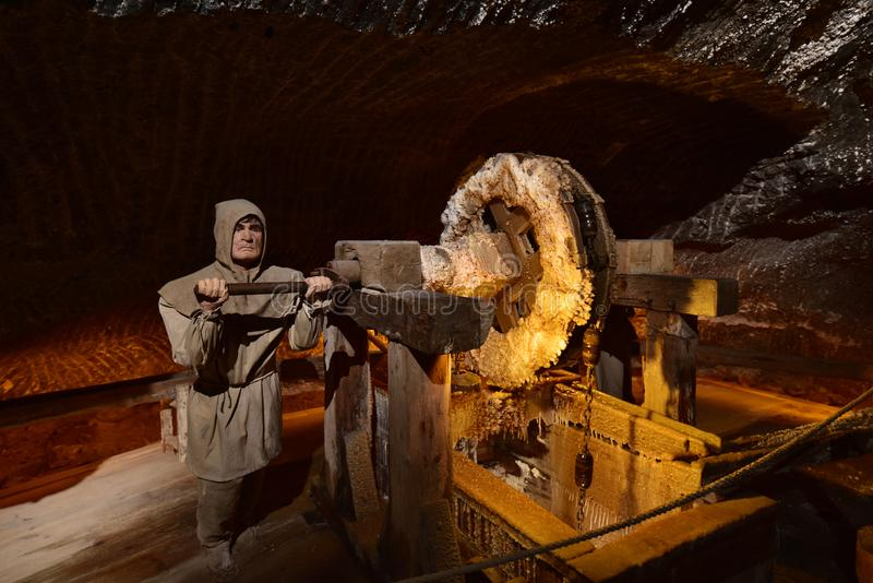 Wieliczka Salt Mine. Model figures depict miners mining rock salt in the Wieliczka Salt Mine stock photo