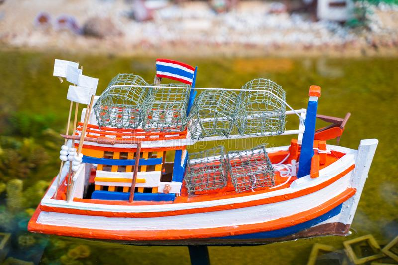 Model fishing boat for presentation. Boat stock image