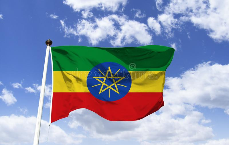 Model of the flag of Ethiopia in the wind royalty free stock photography