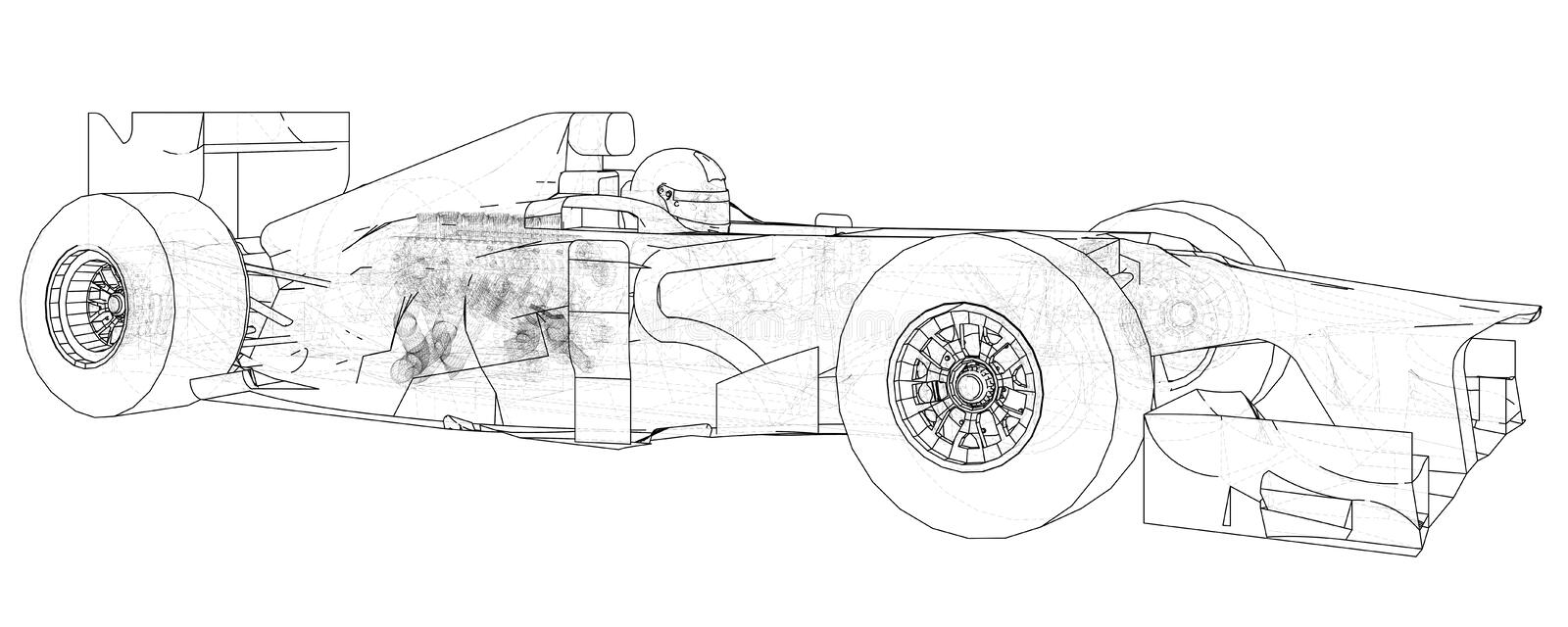 Model Formula 1 Car. Wire-frame. EPS10 Format. Vector Rendering Of ...