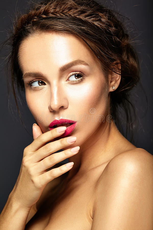 Model with fresh daily makeup stock photography