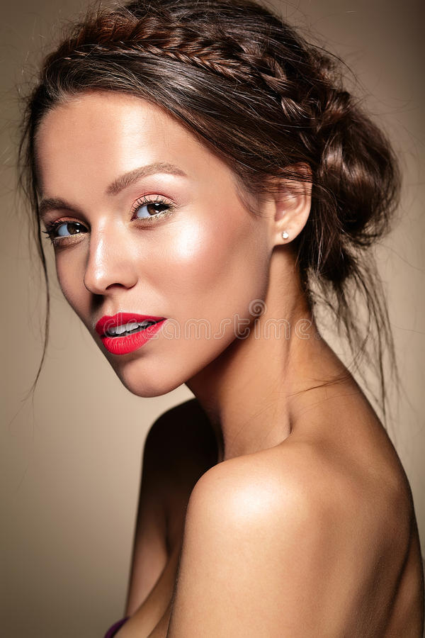 Model with fresh daily makeup stock image