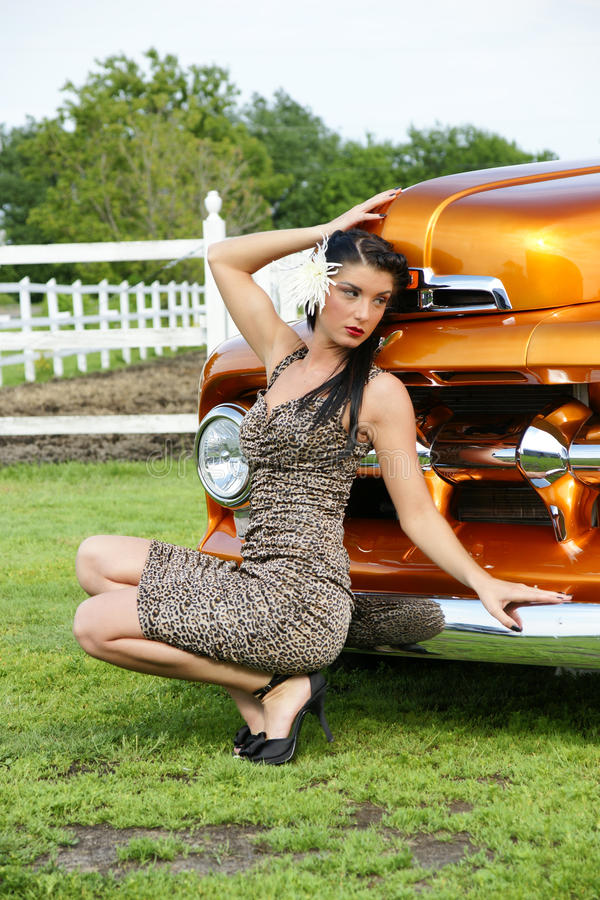 Download Model In Front Of The Classic Truck Stock Image - Image: 10269337