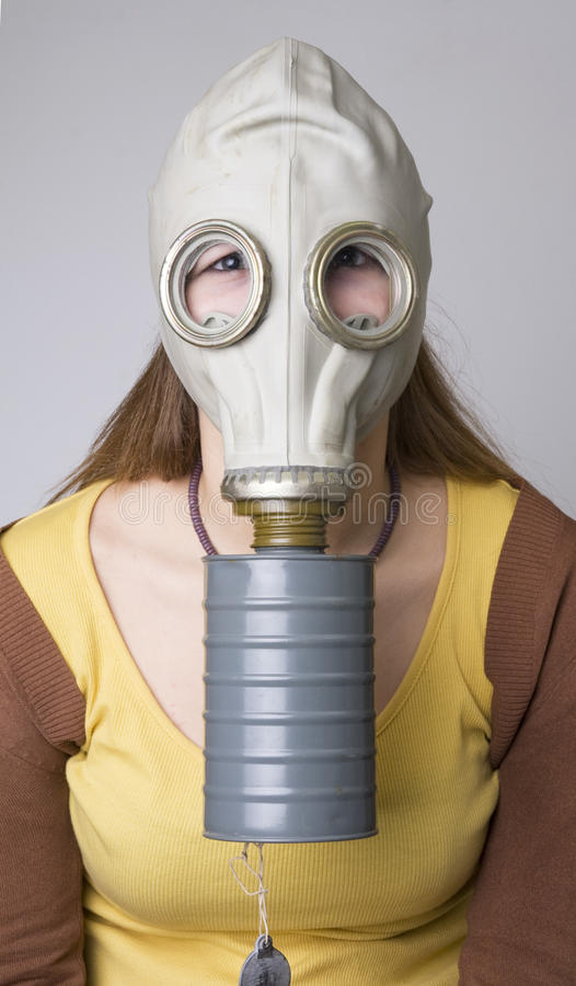 Model with the Gas Mask stock photography
