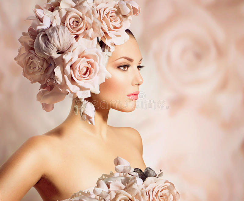 Model Girl With Flowers Hair Stock Photo