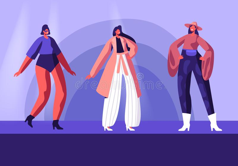 Model Girls in Fashioned Haute Couture Clothing Walking on Runway Demonstrating New Collection of Apparel. Pret-a-Porte, Fashion vector illustration