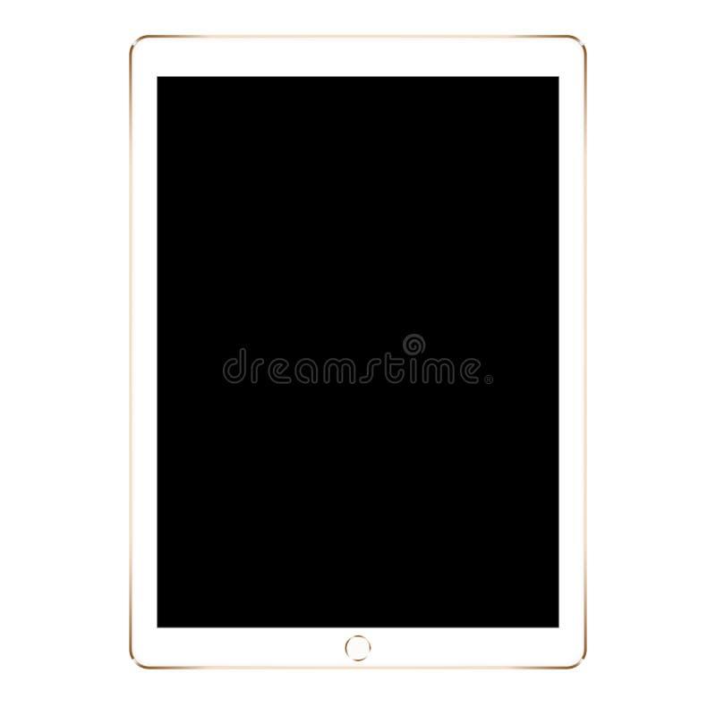 Model gouden die tablet op witte achtergrond wordt geïsoleerd vector illustratie