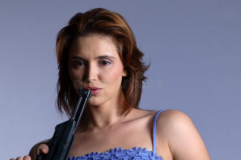 Download Model with gun stock image. Image of face, pistol, bloodshed - 1559127