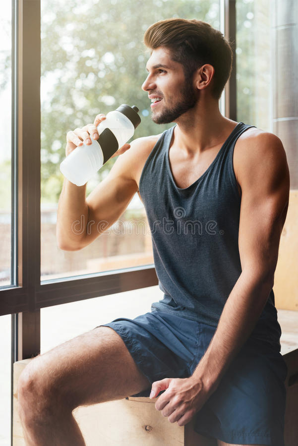 Model in gym stock image