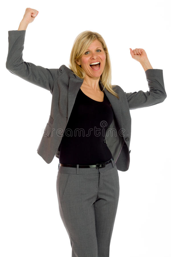 Model happy successful arms in the air. Model isolated on plain background in studio royalty free stock photo