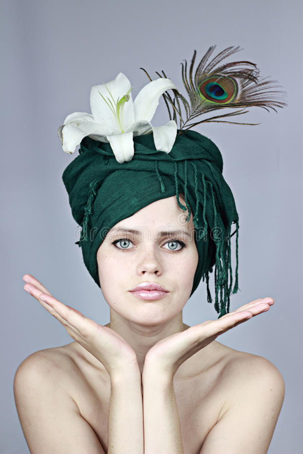 Model in a headdress royalty free stock photos