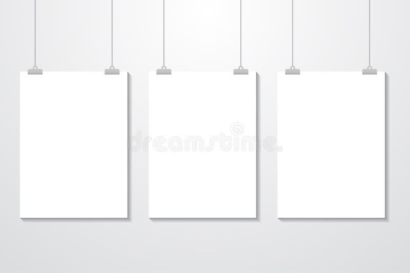 Model het Realistische Witte Affiche Hangen Leeg Wit Vectoraffichemalplaatje stock illustratie