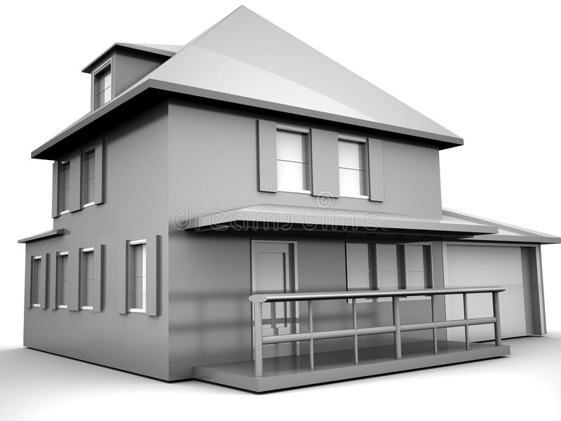 Model of house. 3d Very beautiful three-dimensional illustration, figure royalty free illustration