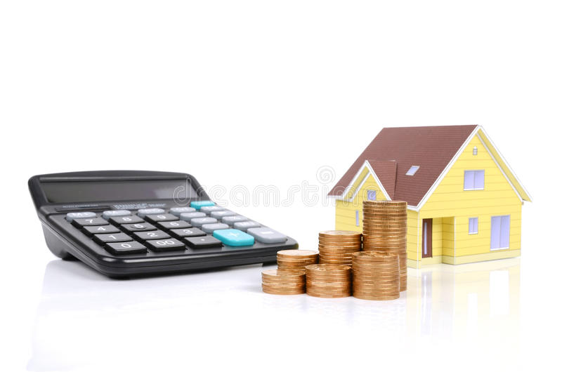 Model house and coin stock photos