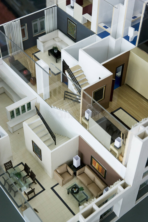 Model House Interior. Image of an architect's model house interior stock photos