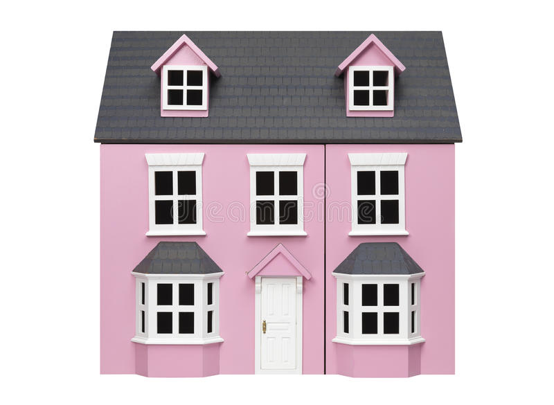 Model House. Isolated pink Model House on a white background royalty free stock image