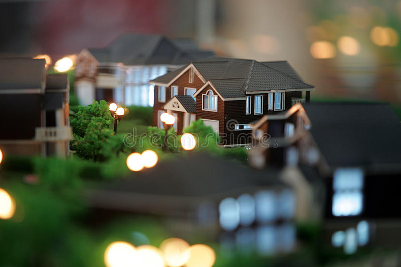 Model of house at night.  stock photos