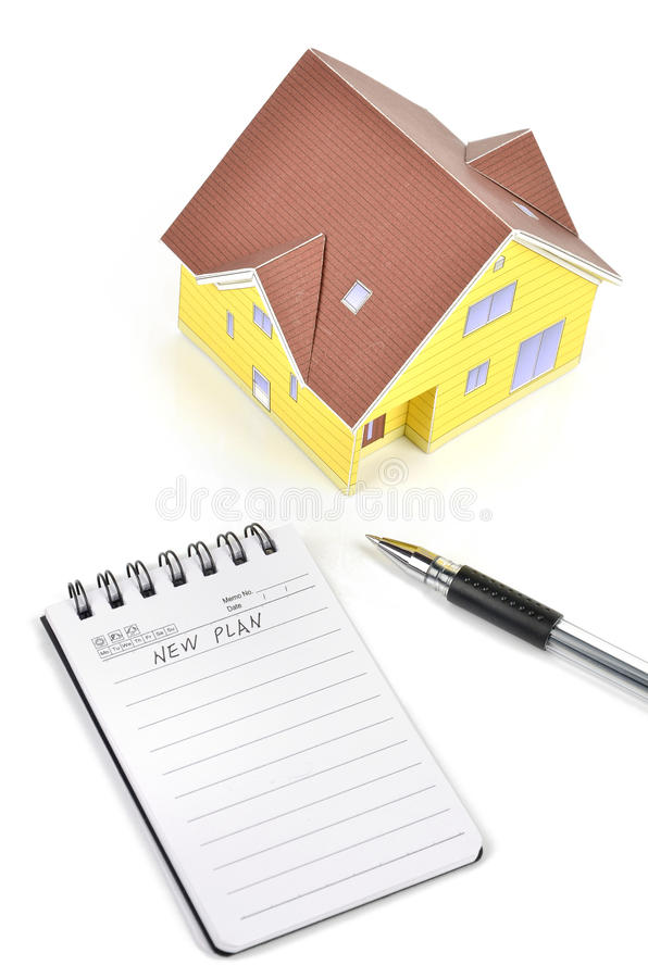Download Model House And Notepad With Pen Stock Image - Image: 23451515