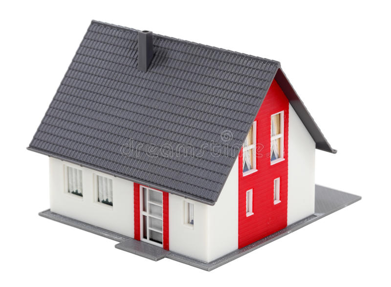 Model of a house. Model of a residential house isolated over white background stock images