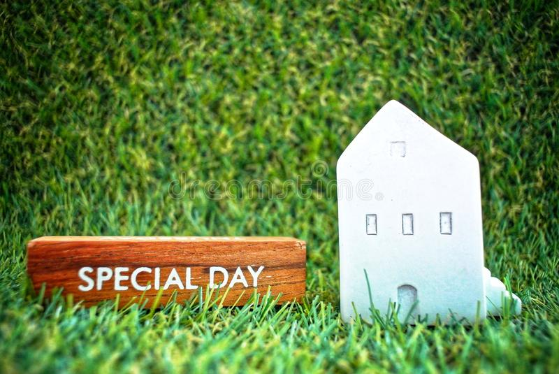 Model house and a wooden box labeled Special Day on the grass background.Finance and Home Loan Concept. The message on the plank written as Special day and royalty free stock photo