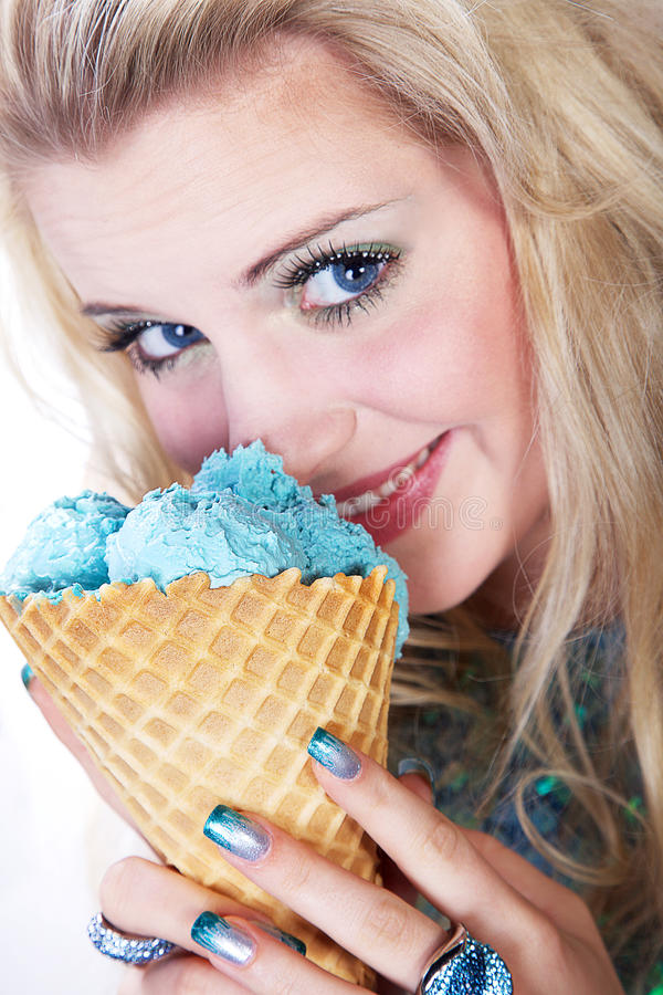 Model with icecream. Beautiful blonde woman with icecream stock images