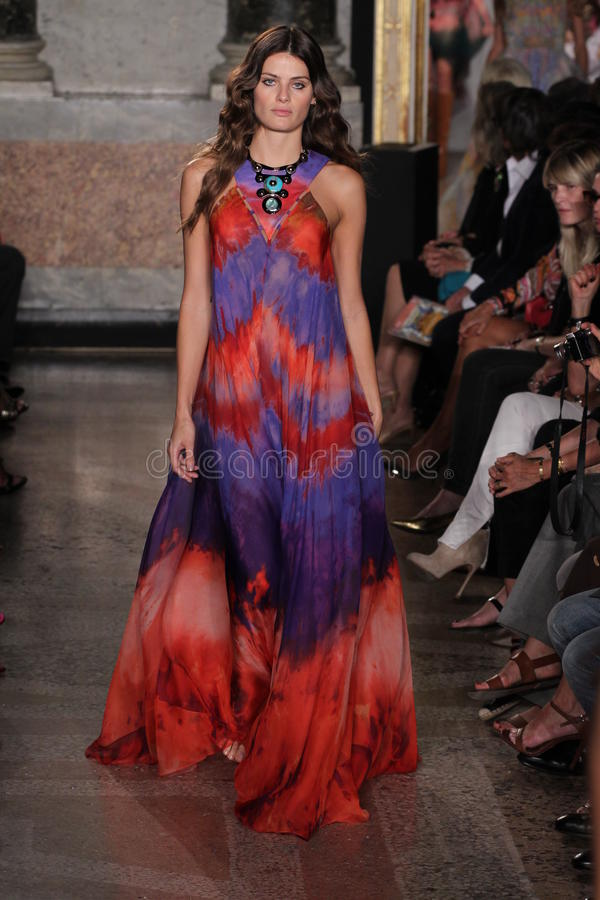 Model Isabeli Fontana walks the runway at the Emilio Pucci show as a part of Milan Fashion Week royalty free stock image