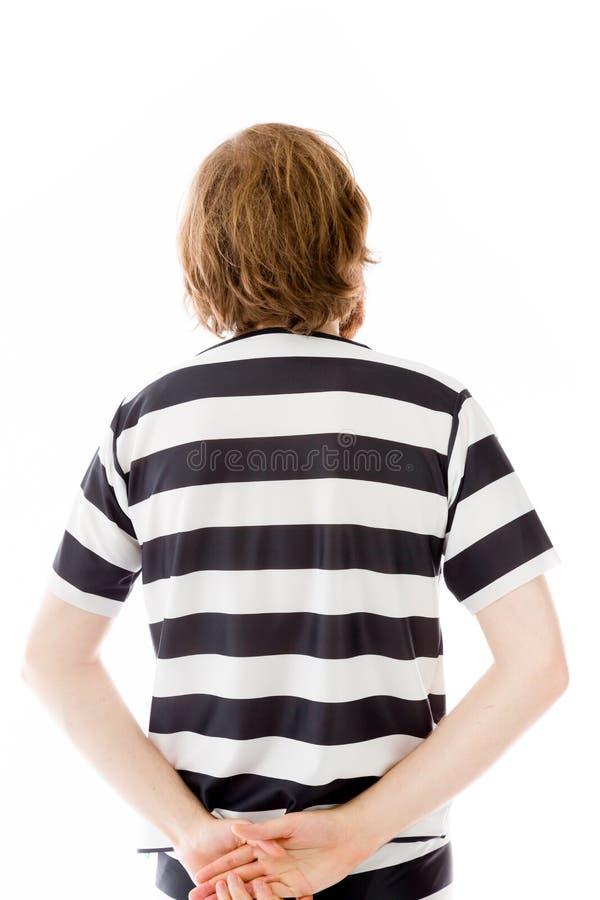 Model isolated on plain background back looking. Model in studio isolated on white background stock image