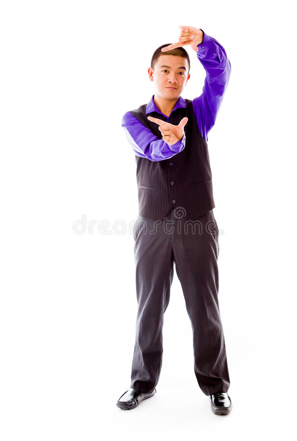 Model isolated on plain background hand gesture stock photography