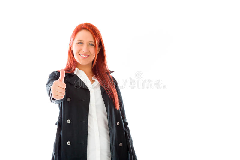 Model isolated positive attitude thumbs up. Model in studio isolated on white background royalty free stock image