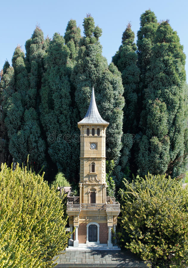 Model of Izmit Clock Towe. R in Miniaturk Park which contains miniature models of famous structures from Istanbul,Anatolia and Ottoman territories that today lie royalty free stock photo
