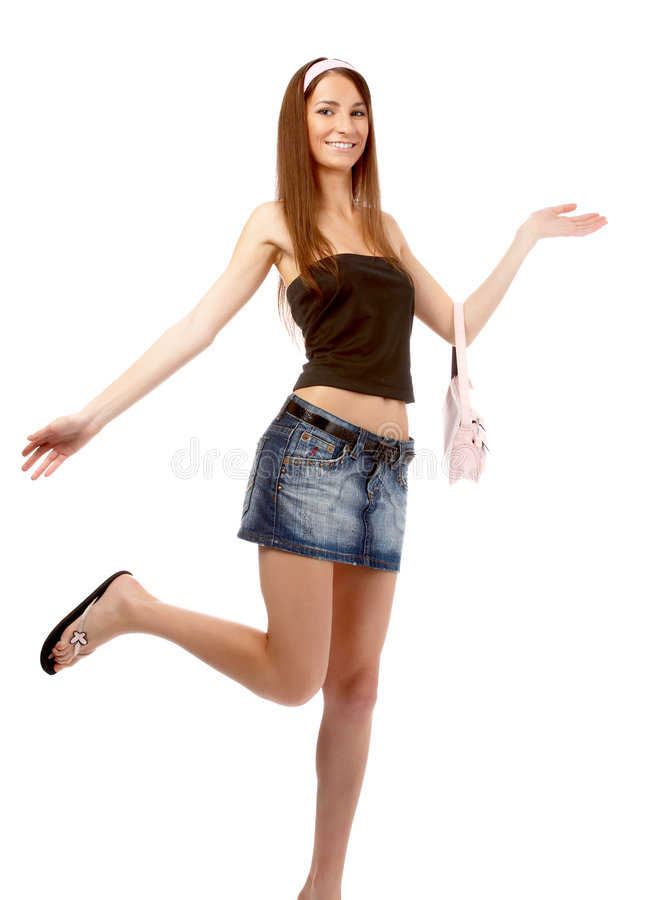 Model in jeans skirt royalty free stock photography