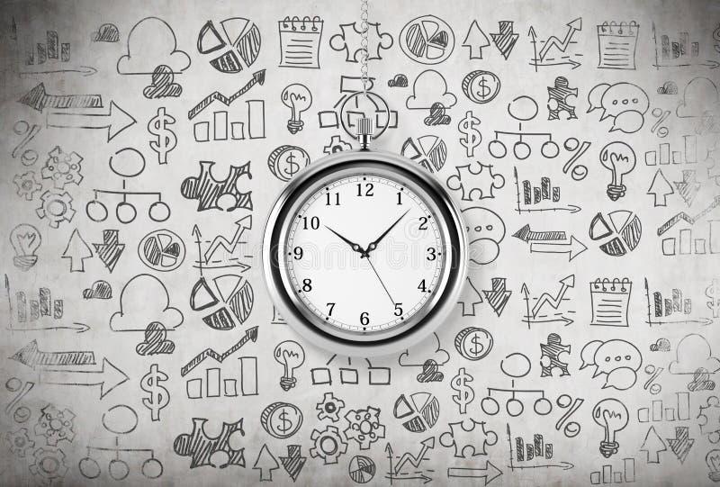 Model kieszeniowy zegarek który wiesza na łańcuchu Pojęcie wartość czas w biznesie Biznesowe ikony rysują na c royalty ilustracja