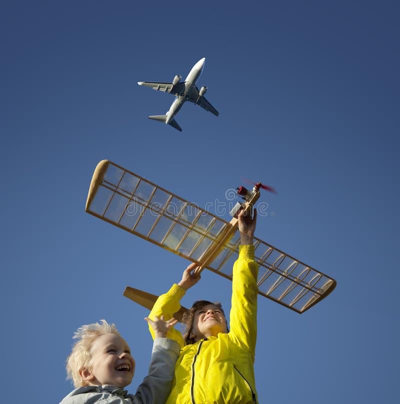 model leka för barnglidflygplan arkivfoton