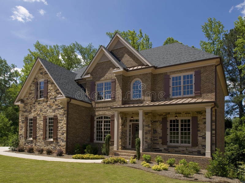 Model Luxury Home Exterior side view porch royalty free stock photography