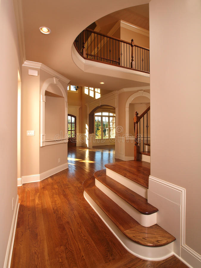 Model Luxury Home Interior Hallway with stairs stock images