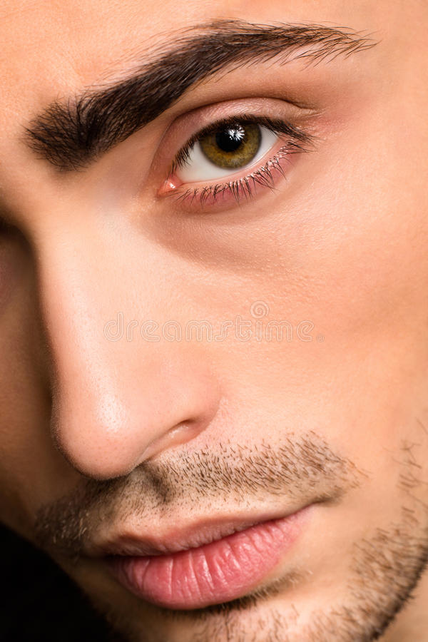 Model man's face close-up stock image