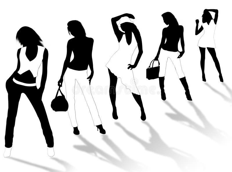 Model meisjes royalty-vrije illustratie