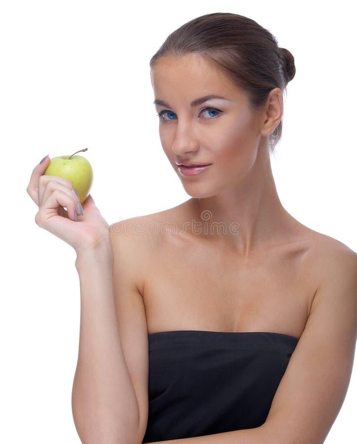 Model met appel stock foto