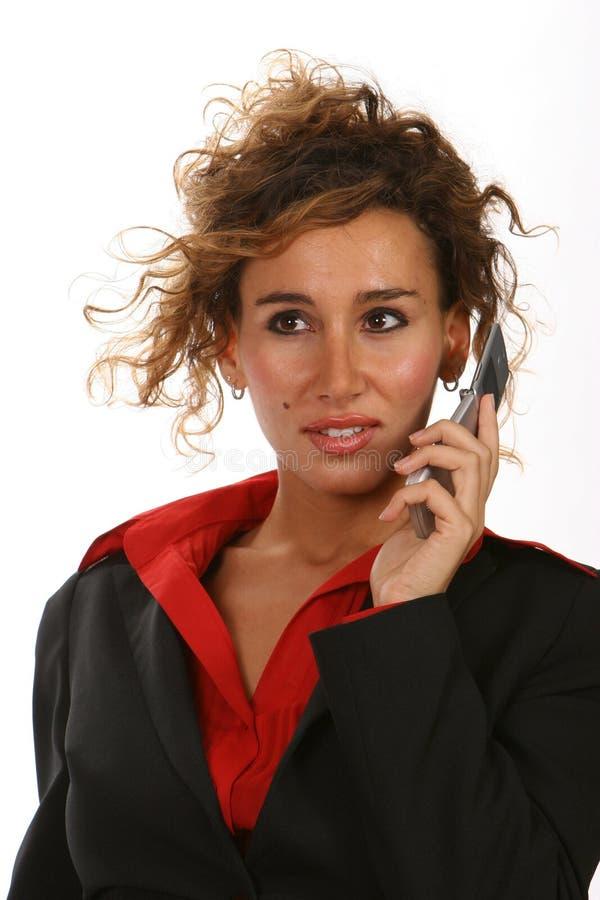 Model met cellphone stock fotografie