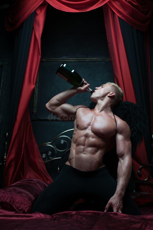 Model met champagne stock fotografie