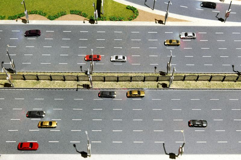 Model of a multi lane highway or motorway royalty free stock images