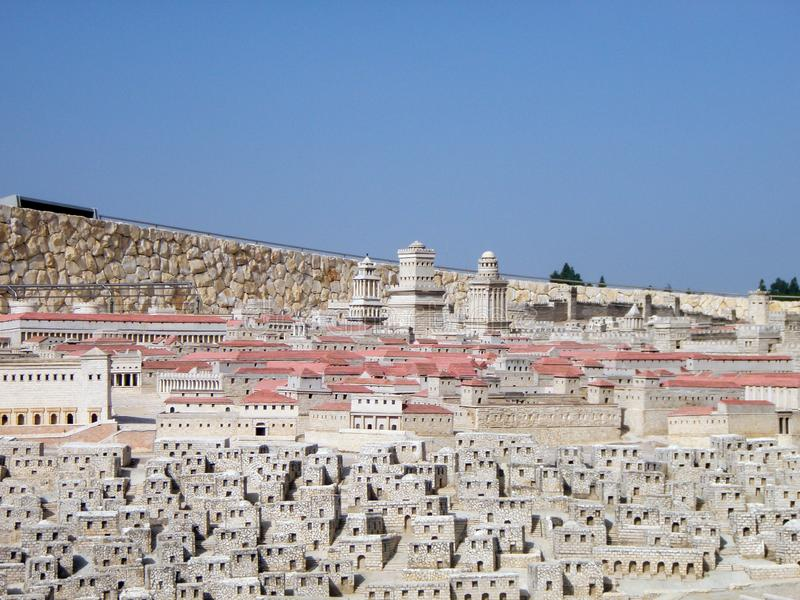 Model of the old city. Museum of Jerusalem. Israel. stock photos