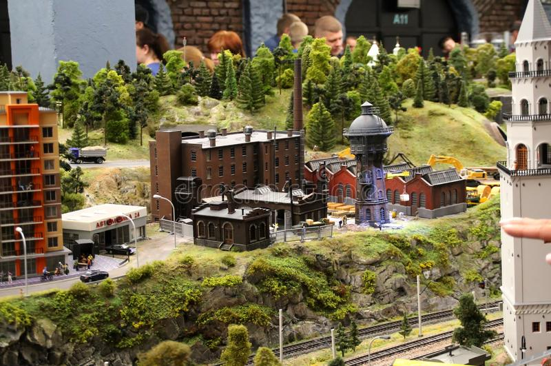 Model of the old factory. Collective image of cities and regions of the Russian Federation, made in miniature. National show-museum `Grand layout Russia`. City stock photography