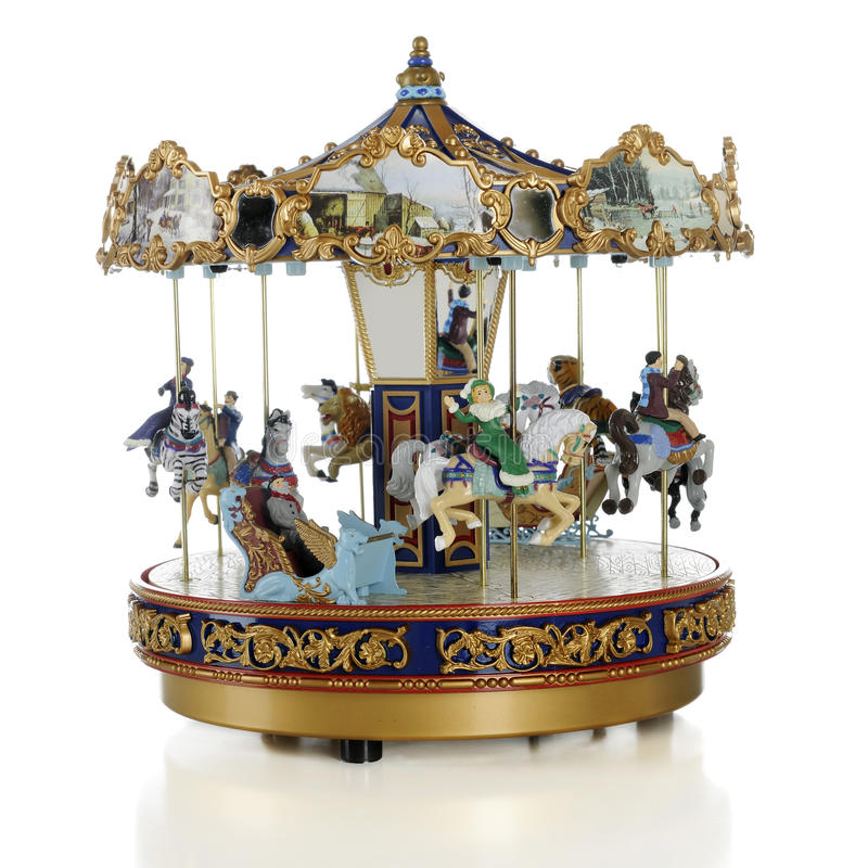 Model Old-Time Carousel. A model old-time carousel on a white background stock image
