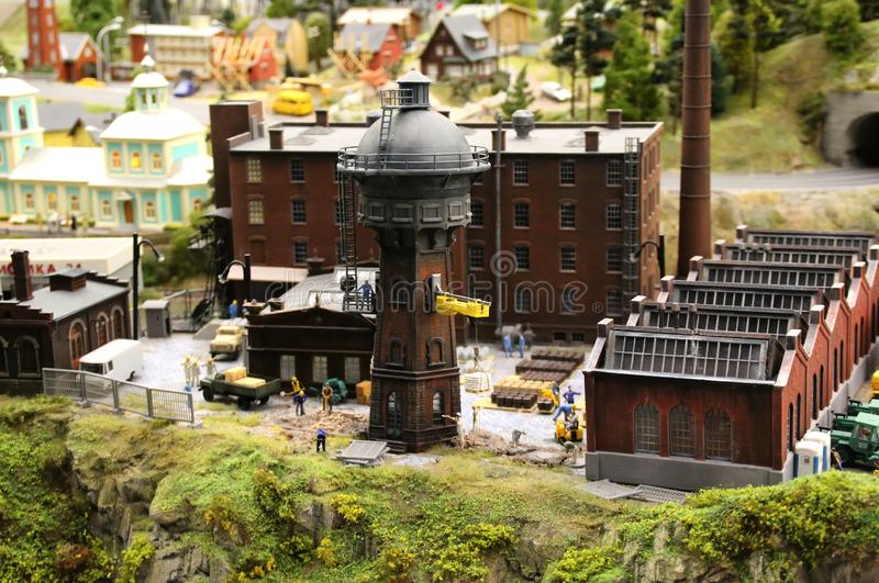 Model of the old water tower. macro shooting. Collective image of cities and regions of the Russian Federation, made in miniature. National show-museum `Grand royalty free stock images